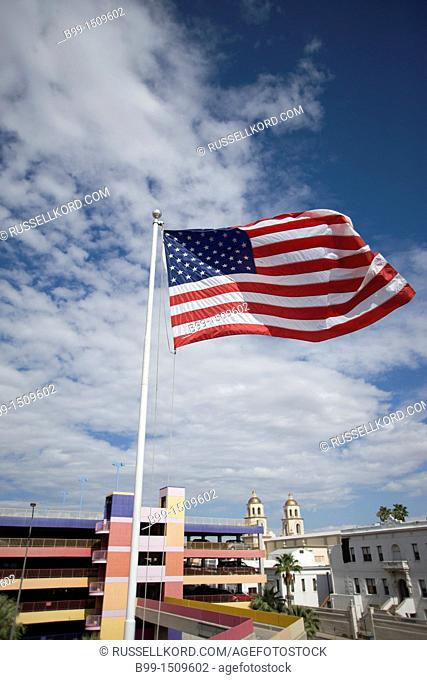 United States Flag Flying On Flagpole La Placita Village Downtown Tucson Arizona USA