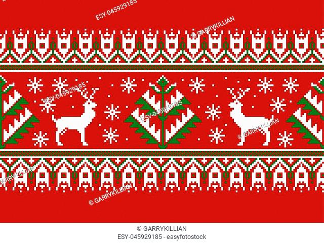 Vector illustration of folk seamless pattern ornament. Ethnic New Year red ornament with pine trees and deers. Cool ethnic border element for your designs