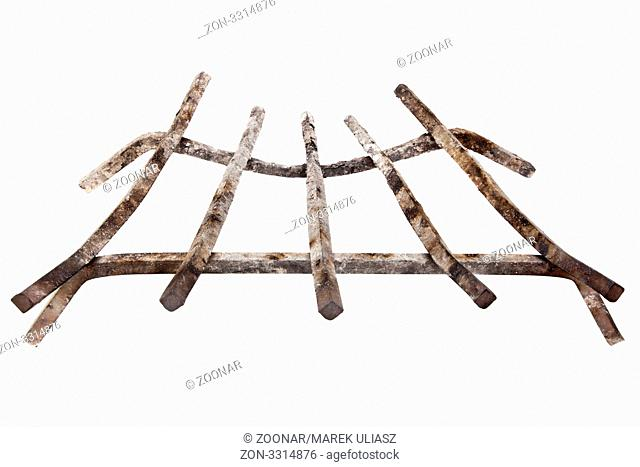 grunge fireplace iron grate with ash from wood burning, isolated on white
