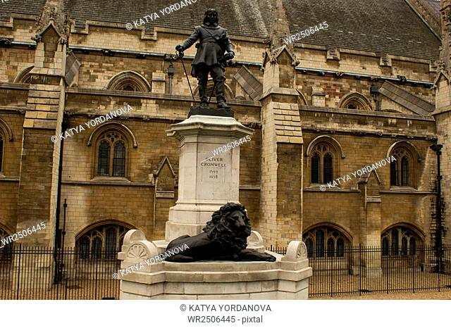 Statue of Oliver Cromwell in Front of Parliament Building, London, England