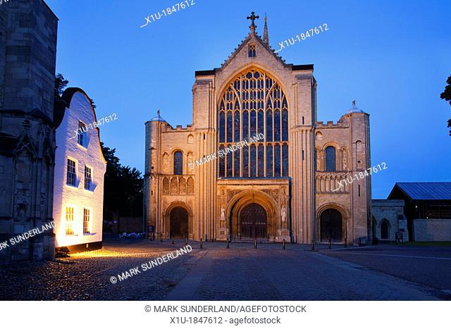 Norwich Cathedral Floodlit at Dusk Norwich Norfolk England