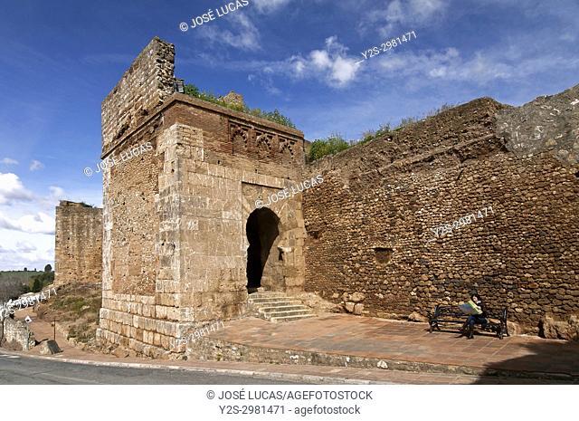 Ancient walls, Puerta del Buey (11th century), Niebla, Huelva province, Region of Andalusia, Spain, Europe