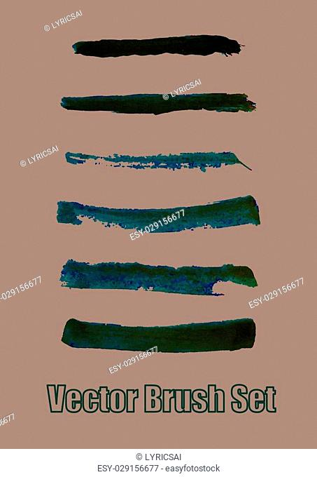 Dark green watercolour brushes set. vector ink design for banners