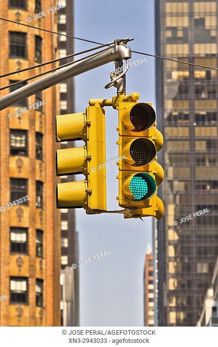 Traffic lights, Manhattan, New York, New York City, USA