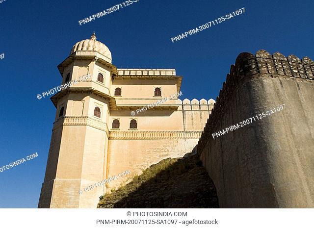 Low angle view of a palace, Badal Mahal, Kumbhalgarh Fort, Rajsamand District, Rajasthan, India