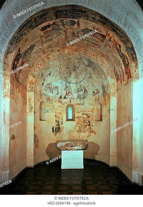 Apse of the chapel of Saint Michael in the Marmellar Castle in Baix Penedès
