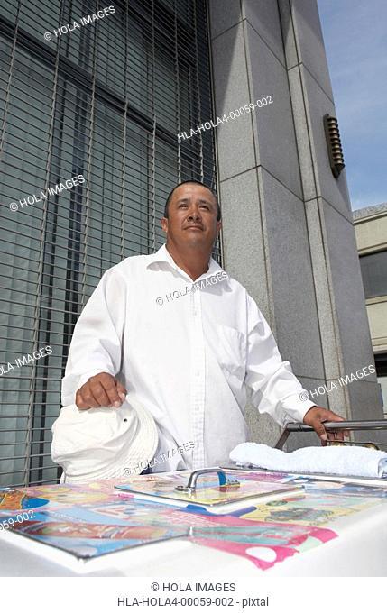 Market vendor selling ice-cream, City Of Los Angeles, California, USA