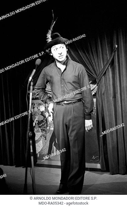 Italian actor Leo Gullotta (Salvatore Leopoldo Gullotta) attending to the reharsals for a theatre play. Rome, 1975