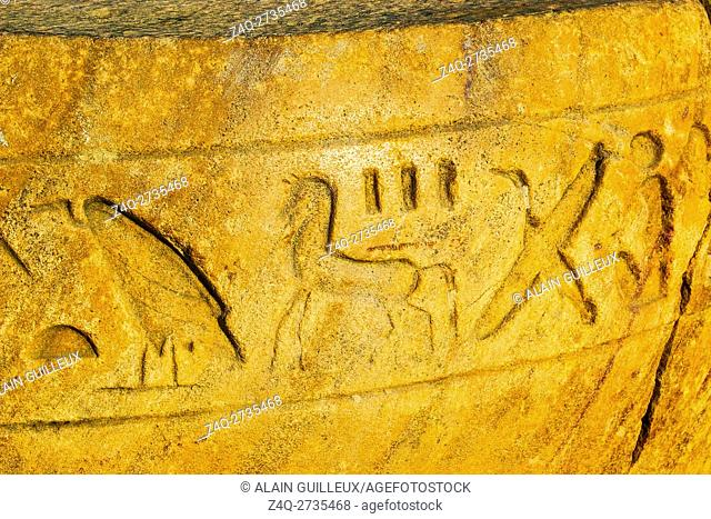 Egypt, Nile Delta, Tanis, artifacts displayed near the mission house : Part of a column, with hieroglyphs, including the sign of a horse
