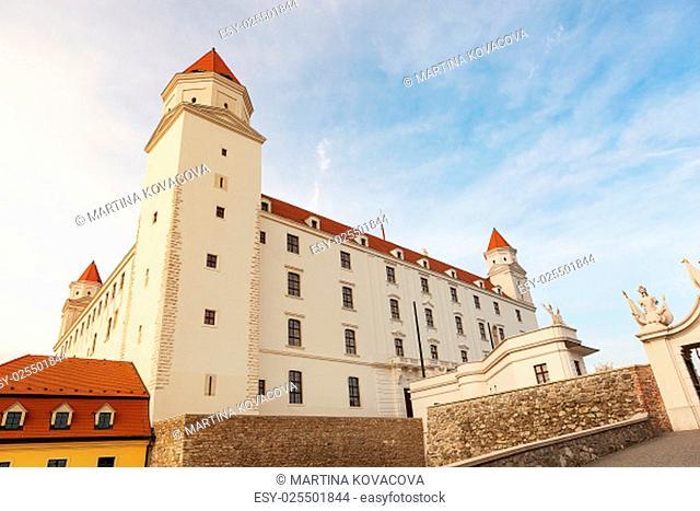Bratislava castle, Slovakia, Eastern Europe on sunny evening with dramatic light and sky. Bratislava landmark