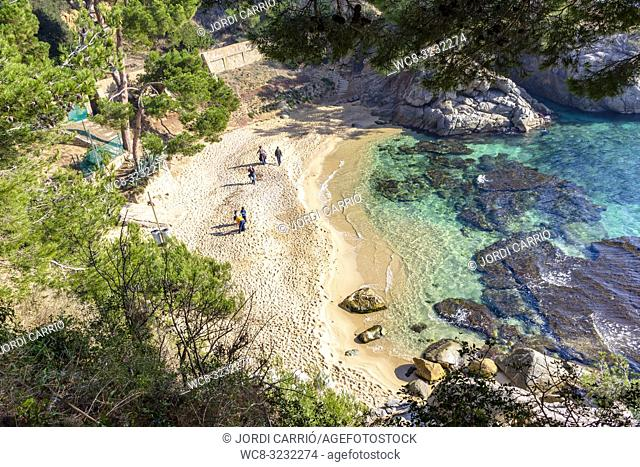 PLATJA D'ARO, CATALONIA, SPAIN - JANUARY 2016: View of Cala del Pi located on the coastal road from Platja d'Aro to Calonge on the Costa Brava, Catalonia