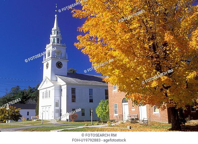 church, Hancock, NH, New Hampshire, First Congregational Church in the town of Hancock in the autumn