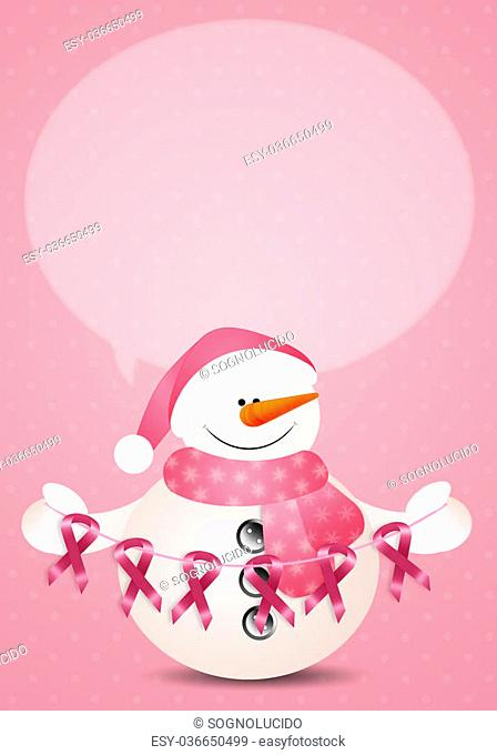 Funny snowman with pink awareness ribbons