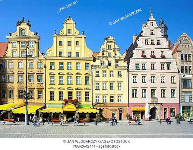 Patrician Houses at Market Square, Wroclaw, Lower Silesia, Poland