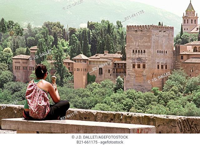 Spain.  Granada. View to the Alhambra, from Mirador of San Nicolas, at  Granada