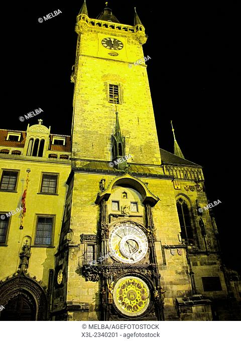 Astronomical Clock at the tower of the Old Town Hall, at Old Town Square, Prague, Czech Republic
