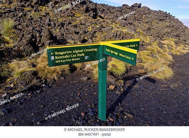 Signpost along the Tongariro Alpine Crossing trail, Manawatu-Wanganui, North Island, New Zealand