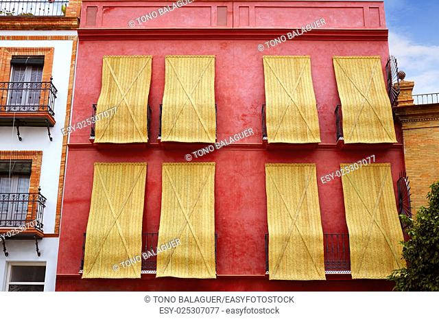 Triana barrio of Seville facades Andalusia Sevilla Spain esparto shutters