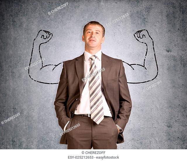 Businessman with strong arms drawn in pencil