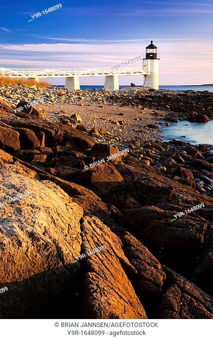 Sunset at Marshall Point Lighthouse - built 1832, near Port Clyde Maine USA