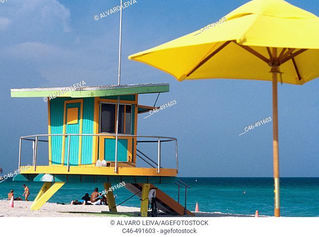 Art Deco Lifeguard Station, South Beach, Miami Beach, Miami, USA