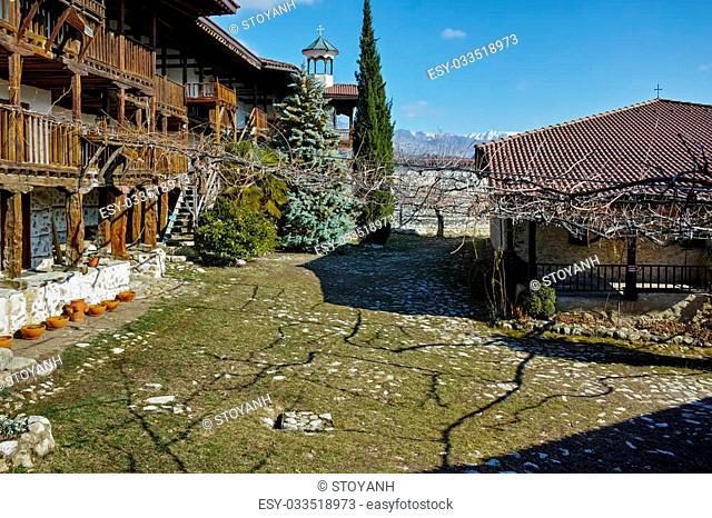 Panorama of Rozhen Monastery Nativity of the Mother of God, Blagoevgrad region, Bulgaria