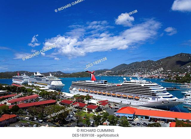 Havensight Cruise Ship Terminal, elevated view, Charlotte Amalie, St. Thomas Island, U.S. Virgin Islands