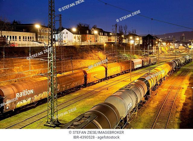 Freight train depot, Hagen, Ruhr District, North Rhine-Westphalia, Germany, Europe