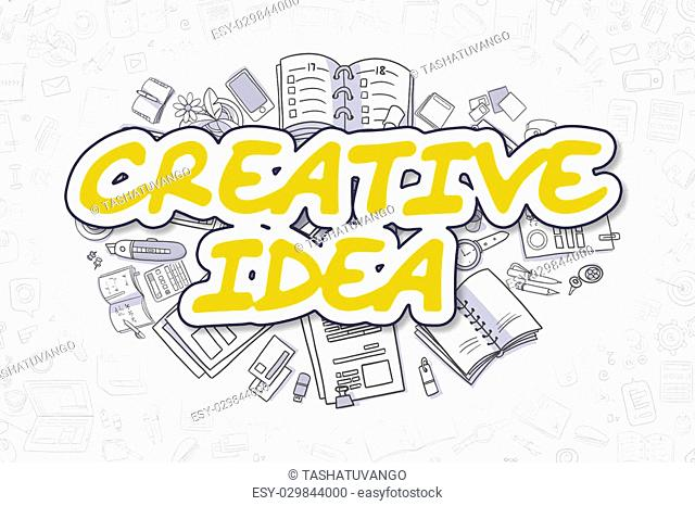 Yellow Inscription - Creative Idea. Business Concept with Cartoon Icons. Creative Idea - Hand Drawn Illustration for Web Banners and Printed Materials