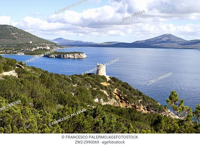 Watchtower remains above Porto Conte Bay at Capo Caccia. Alghero, Sardinia. Italy