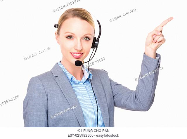Customer services officer with finger point up