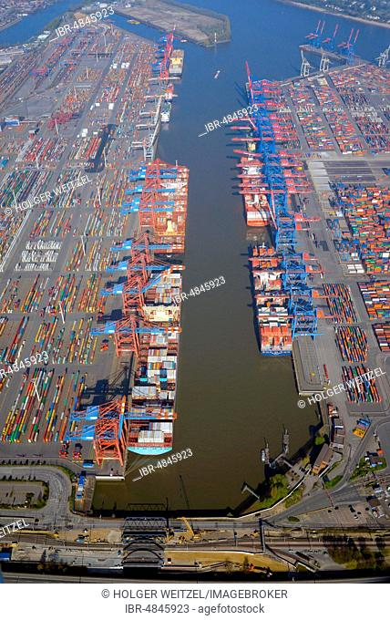 Aerial view, Eurogate and Burchardkai at Waltershofer Hafen harbour, container port, Hamburg, Germany