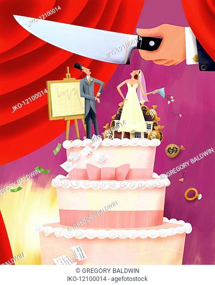 Large knife over bride and groom on wedding cake dividing assets