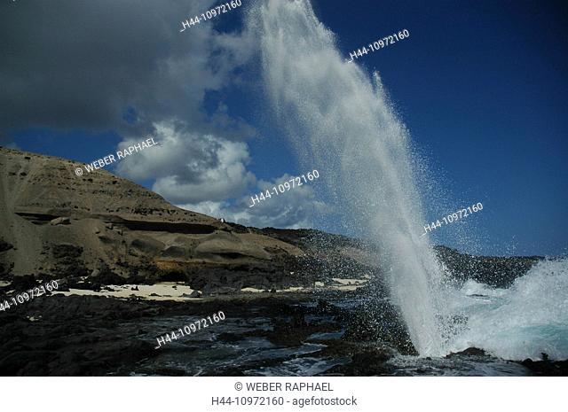 Ascension, Ascension Island, coast, sea, waves, blowhole, jet, fountain, foam, surf, rock, cliff, cliffs, rocks