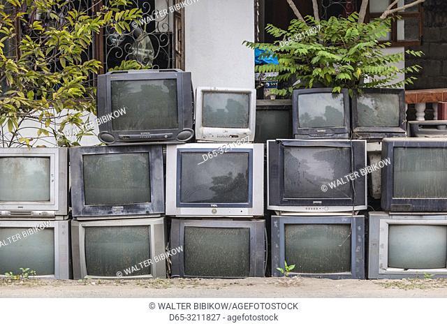 Laos, Luang Prabang, display of old televisions