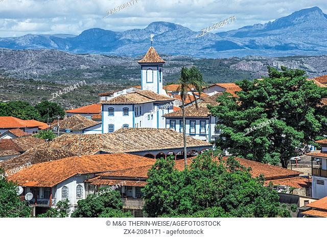 View over Diamantina and the Nossa Senhora do Amparo Church, Diamantina, Minas Gerais, Brazil