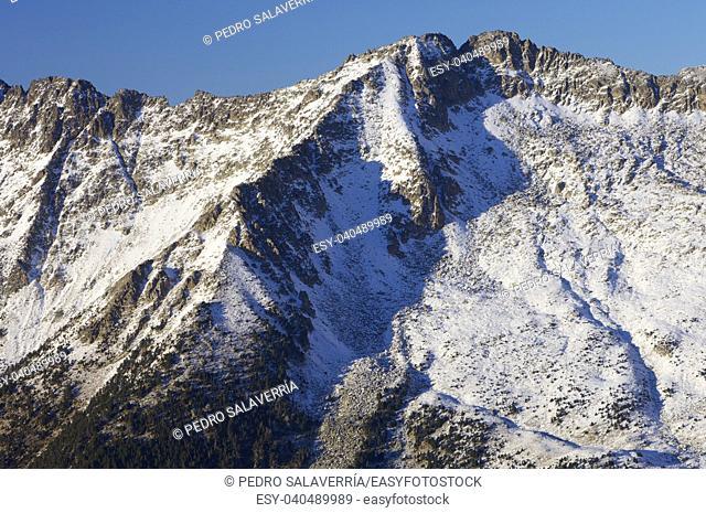 snowy mountains in the Pyrenees, Benasque Valley, Huesca, Aragon, Spain