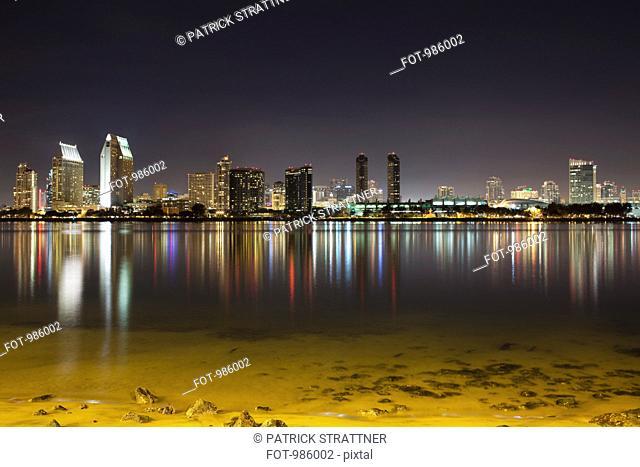 San Diego skyline, night