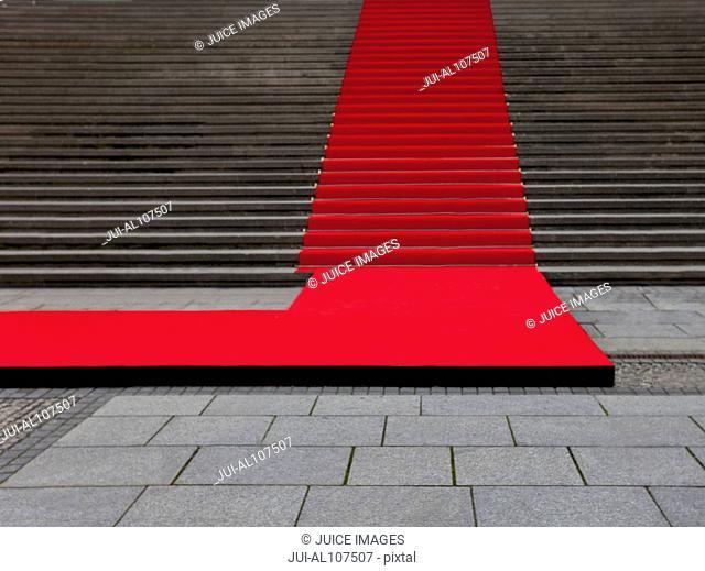 Red carpet on the stairs of the Konzerthaus Berlin, Gendarmenmarkt, Berlin, Germany