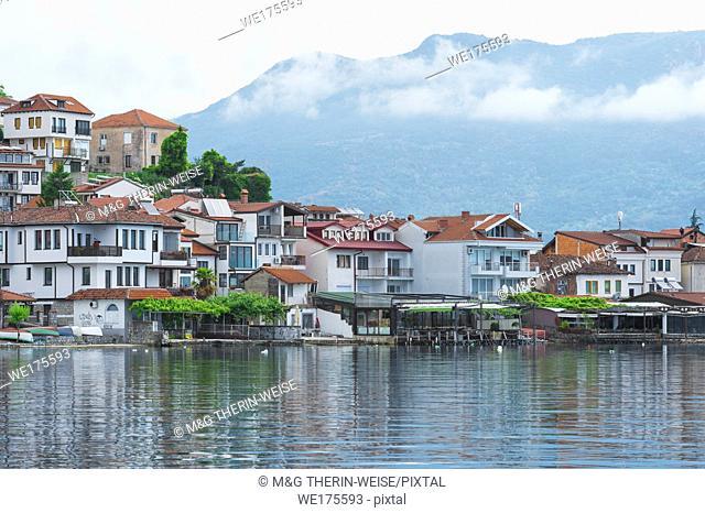 Ohrid old city reflecting in Lake Ohrid, Macedonia