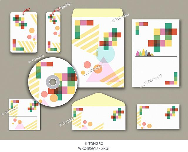 Design set of various objects related to business with colorful geometric patterns