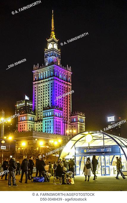 Downtown train station,metro, Palace of Culture. Warsaw, Poland