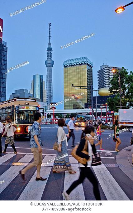 Crosswalk in Kaminarimon street, in background Sky Tree, Asakusa District, Tokyo, Japan
