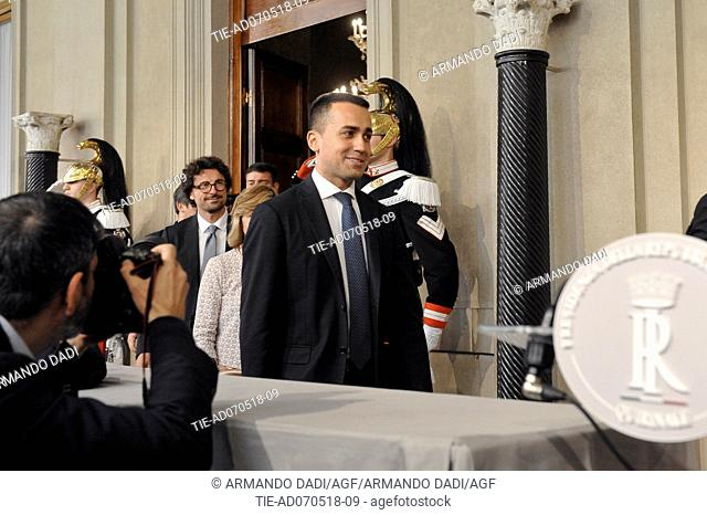 Leader of 5 Star Movement Luigi Di Maio after the meeting with the Republic President, Quirinale PALACE, rOME, italy-07-05-2018