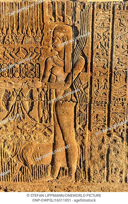 Egypt, Aswan Gouvernement, Kom Ombo, The Temple of Kom Ombo is dedicated to the gods Horus (Falke) and Sobek (Crocodile)