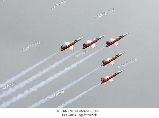Jet fighters F-5E Tiger II of the flying stunt squadron Partrouille Suisse during ILA 2006 in Berlin