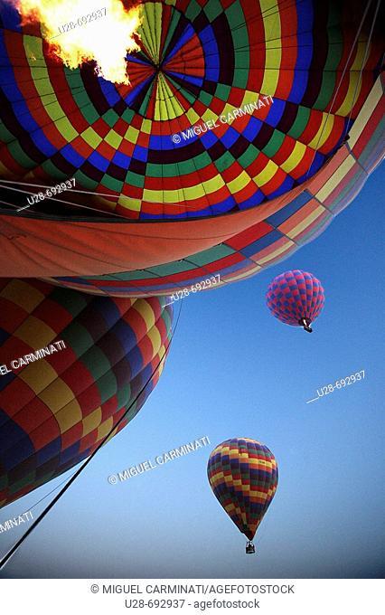 Hot-air balloons over Göreme valley. Cappadocia, Turkey