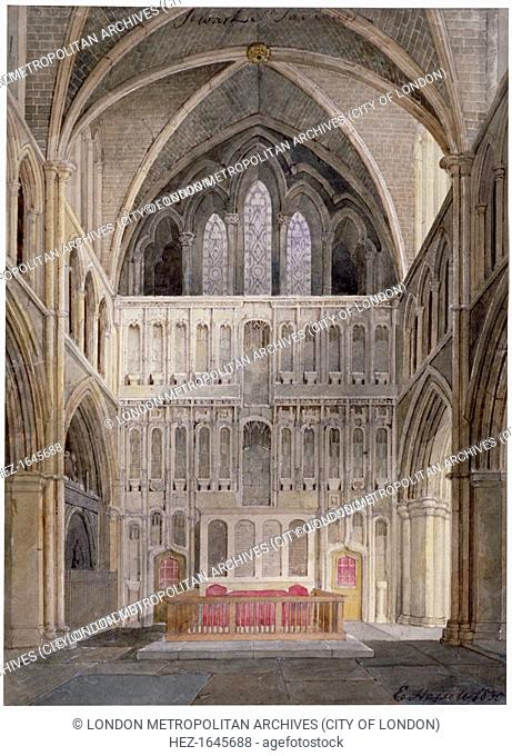 Interior view looking towards the altar, St Saviour's Church, Southwark, London, 1830. The church became Southwark Cathedral in 1905
