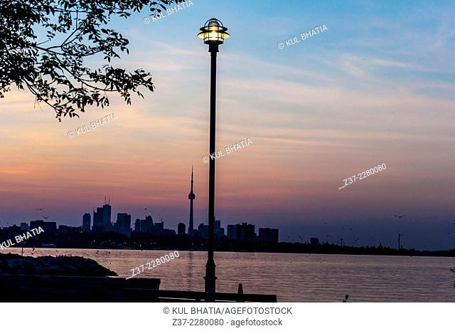 Toronto skyline, looking east from Etobicoke, early morning, lake Ontario in the foreground