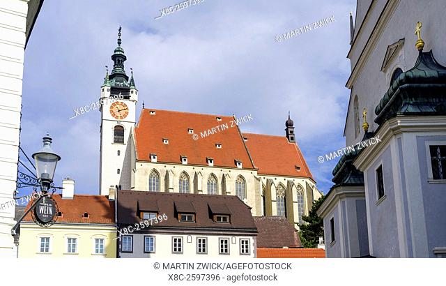 The Piarists church in old town of Krems an der Donau in Lower Austria. Krems is the gateway to the Wachau. The Wachau is a famous vineyard and listed as Wachau...